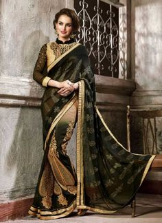 Designer Black And Cream Embroidery Work Party Wear  Saree http://www.angelnx.com/Sarees/Party-Wear-Sarees