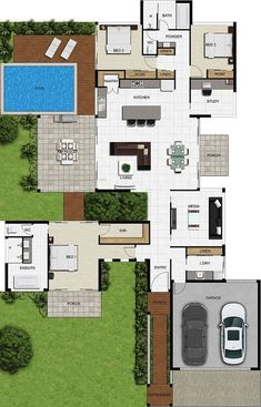Create high quality, professional and Realistic colour floor plans from our range of plan symbols & Colour Floor plan Symbols House Layout Plans, Dream House Plans, Modern House Plans, House Floor Plans, Courtyard House Plans, Layouts Casa, House Layouts, Home Design Plans, Plan Design