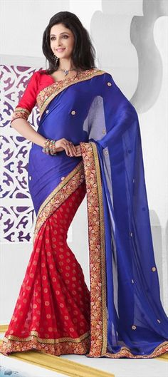 116718, Party Wear Sarees, Embroidered Sarees, Jacquard, Chiffon, Border, Stone, Blue, Red and Maroon Color Family