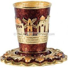 Beautifully designed by Karshi of Jerusalem a Jeweled Jerusalem Kiddush Cup with matching coaster.