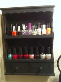 Spice rack turned nail polish holder. Cant wait to start my Tiffany Nail polish DYI holder ! Cute & Cheap