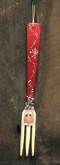 Handpainted wooden fork Santa by KathysKountry on Etsy, $9.50