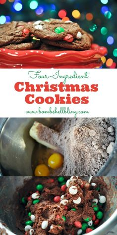 4 ingredient Christmas cookies! I made them w/ toffee bits instead of peppermint candies...delicious! Choc cake mix, 2 eggs, 1 stick butter, candy. 375 oven; 12-15 min. Yum!