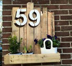 Huisnummer bord voor mijn lief gemaakt