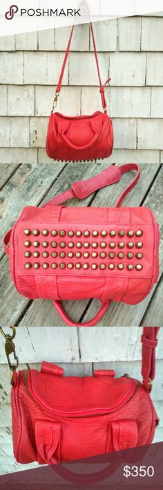 "Alexander Wang Red Pebbled Leather Rockie Handbag This Rockie handbag by Alexander Wang is in great gently used condition! Comes with dustbag and authenticity card. Red leather with antiqued brass metal. Crossbody strap. Tons of internal storage. Maybe some slight discoloration to leather, but VERY minimal. Approx 10.5"" x 8"" x 8"". Maybe willing to trade for other high end items..Maybe. Alexander Wang Bags Crossbody Bags"