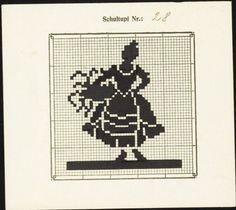 0 point de croix monochrome femme et panier - cross stitch woman and basket