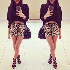 All black ensemble with a pop of leopard print on the shorts. Look At You, Fashion Outfits, Womens Fashion, Swagg, Urban Fashion, Passion For Fashion, Everyday Fashion, Dress To Impress, Spring Outfits