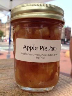 Canning Recipe – Apple Pie Jam - LivingGreenAndFrugally.com | Might have to try this with my low sugar pectin and less sugar.