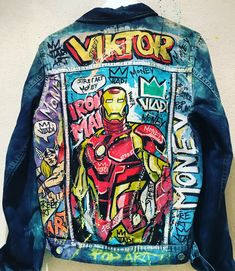 Iron Man 💸💸👌🤩👀#streetart #comics #popart #fashion #fashionstyle #modernart #luxury #ironman #artvladi #art #artist Classy Summer Outfits, Cool Outfits, Custom Denim Jackets, Business Fashion, Business Style, Marvel Clothes, Denim Art, Junior Fashion, Painted Clothes