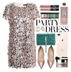 """""""#PolyPresents: Party Dresses II"""" by julijana-k ❤ liked on Polyvore featuring French Connection, Serge Lutens, Yves Saint Laurent, Clinique, MAC Cosmetics, NARS Cosmetics, Christmas, partydress, contestentry and newyear"""