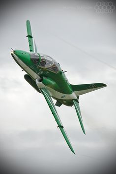 """Saudi Hawks The """"Saudi Hawks"""" are the Royal Saudi Air Force aerobatic display team flying six BAe Hawk Mk.65 trainers painted in an all green color scheme with white trim."""