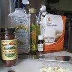 First I make up a batch of the Natural Insecticidal Soap Spray, which you will need for the All-Purpose Garlic Chili Spray.  Then crush and roughly chop your garlic cloves.