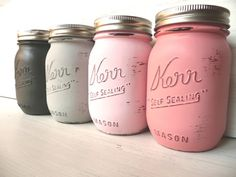 DIY painted mason jars... Super easy to do and SO pretty