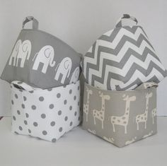 Items similar to Fabric Organizer Bin Toy Storage Container Basket - White Ele Elephant on Gray Fabric - 8 in x 8 in x 8 in - Nursery Baby Room Decor on Etsy Organize Fabric, Fabric Bins, Fabric Storage, Toy Storage, Storage Baskets, Fabric Basket, Diy Bag Organiser, Bag Organization, Fabric Organizer