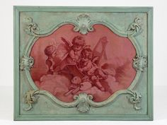 Overdoor Panel, with grisaille paintings in reds, ca. 1750 oil on canvas in carved wood frame