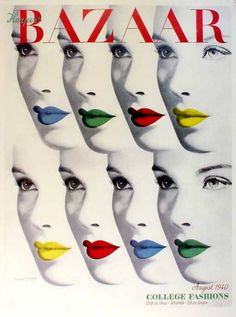 primary colors, magazine covers, cover design, graphic designers, lip art, harper bazaar, herbert bayer, cover art, vintage magazines