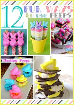 12 Fun Ways to Use Marshmallow Peeps: I& rounded up 12 creative ways to think outside the box and use marshmallow peeps for Easter. Easter Peeps, Easter Candy, Hoppy Easter, Easter Treats, Easter Snacks, Easter Desserts, Easter Stuff, Easter Food, Easter Table