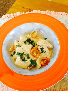Home made gnocchi with mushroom,garlic,sundried tomato,red pepper,spring onion and light creamy sauce