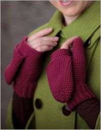 crochet pattern for finger-flap gloves