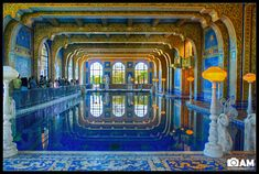 The Roman Pool at Hearst castle is a tiled indoor pool decorated with eight statues of Roman gods, goddesses and heroes. Description from blog.aaronmphotography.com. I searched for this on bing.com/images