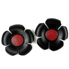 African Blackwood and Rosewood Flower Earrings - BaobArt