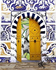 https://flic.kr/p/82wMmf | yellow morrocan door | New series that combines the Naughty Nymph Series, the Cracked Lady Series and some of my favorite doors.  I am always learning how to use new tools on old programs.  The latest learned tool is The Magic Wand- useful bit of knowledge. Not everything is posted yet, I am still working on it.