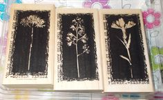 Stampin Up Artistic floral stems Reverse prints Hostess set purple rubber three stamps on wood mounts Papercrafting Journaling card making by NoodlesNotions on Etsy