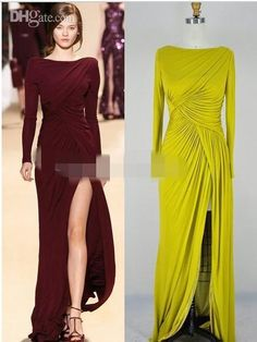 evening gown with sleeves Real Pictures Elie Saab Plus Size Evening Gowns With Long Sleeve Split Side Ruffle Bateau Sweep Train Sheath Mother Of The Bride Formal Gown Evening Gowns With Sleeves, Plus Size Evening Gown, Evening Dresses With Sleeves, Women's Evening Dresses, Prom Dresses, Bridesmaid Dresses, Elie Saab, Simple Dresses, Cheap Dresses