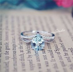 Gorgeous Natural Aquamarine Ring 79mm Aquamarine Engagement Ring/ Wedding Ring Sterling Silver Ring Anniversary Ring Promise Ring