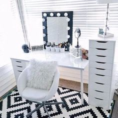 @glamzandglitz  ❄️ I love the table and Alex nine draws however black would perhaps hide makeup stains better .