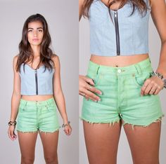 LPM Designed Distressed Dyed Neon Lime Green Denim Cut Offs / Custom Made / Size Small / Medium / Large. $43,99, via Etsy.