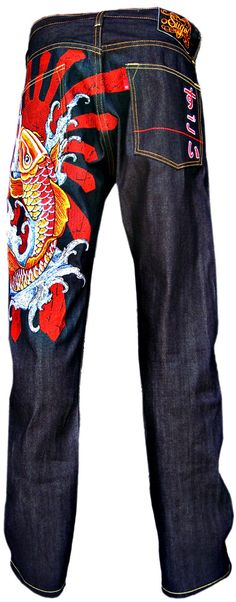 The KOI jeans by Sugoi.    Raw denim jeans with embroidery depicting a koi fish riding on waves.