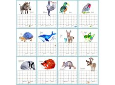 DIN A4 - Kalender *Tiere* - ein Designerstück von Frau-Ottilie bei DaWanda