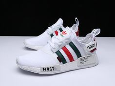 san francisco 741f1 e451c 2018 Factory Authentic Unisex OFF WHITE X Adidas NMD R1 PK White Green Red