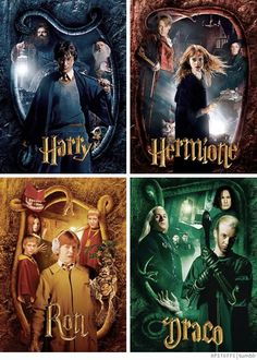 Harry Potter, Hermione Granger, Ron Weasley and Draco Malfoy in The Chamber of Secrets Harry Potter Tumblr, Harry Potter Hermione, Harry Potter Anime, Harry Potter Fan Art, Draco Malfoy, Memes Do Harry Potter, Harry Potter Pictures, Harry Potter Characters, Hermione Granger