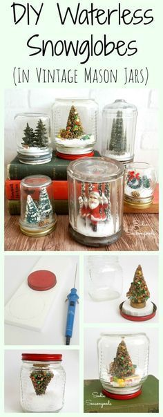 Waterless snowglobes... beautiful, timeless, and easy to store year after year. AND they're super easy to make. I used vintage mason jars and other antique glass jars, and added vintage bottle brush trees, dollhouse Christmas gifts, small pinecones, and faux snow to give mine a retro, vintage look. Fun, pretty holiday repurpose DIY craft project from #SadieSeasongoods / www.sadieseasongoods.com