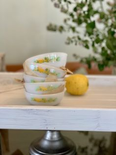 Lovely set of 5 Agee Pyrex Pudding bowls - New Zealand Vintage Pyrex -Lemons Pattern - Collectable Vintage Vintage Pyrex, Retro Vintage, Pyrex Bowls, Bank Holiday, Milk Glass, New Zealand, Serving Bowls, Pudding, This Or That Questions