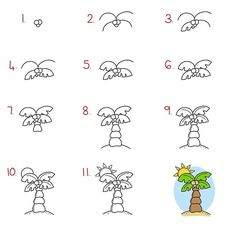 Follow step by step to draw this fun palm tree.