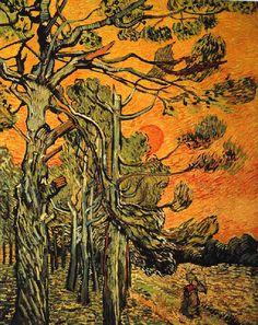 Vincent Van Gogh - Post Impressionism - Saint REMY - Pins sur le ciel du soir - 1889                                                                                                                                                                                 Plus