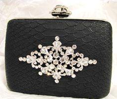 Black Fabric Wedding Bag Clutch Formal Wear by weddingswithflair, $38.00
