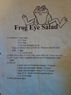 Frog Eye Salad Nit grandma used to make it. my husband ha family loves it but calls it Hawaiian salad so the kids don't freak at the name Jello Recipes, Fruit Salad Recipes, Old Recipes, Vintage Recipes, Sweet Recipes, Dessert Recipes, Cooking Recipes, Fruit Salads, Jello Salads