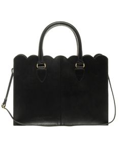 Leather Scallop edge tote bag - perfect for work