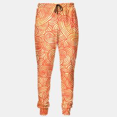 """Orange and red zentangles"" Unisex Sweatpants by Savousepate on Live Heroes #pants #apparel #clothing #pattern #graphic #modern #abstract #doodles #zentangles #scrolls #spirals #arabesques #orange #yellow #red #fallcolors #autumncolors"