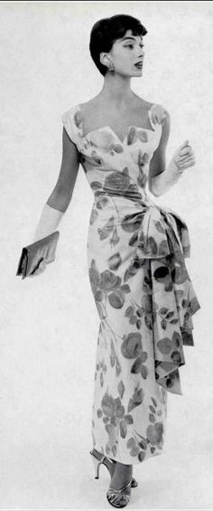 1955, Marie-Hélène in cotton floral print evening dress by Jacques Griffe, photo by Guy Arsac by krystal by krystal