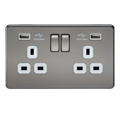 Knightsbridge Screwless SF9902BNW Black Nickel 2 Gang 13A Switched Socket with Dual USB Charger - White Inserts at UK Electrical Supplies.