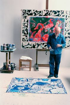 Pierre Alechinsky in his studio in Provence.
