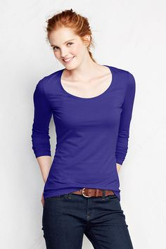 Women's Shaped Layering Scoop Neck T Shirt from Lands' End