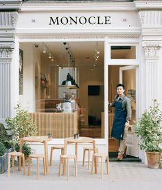 The Monocle Café, Marylebone, London. It's a short hop to Mayfair Deco Restaurant, Restaurant Seating, Restaurant Design, Outdoor Restaurant, Modern Restaurant, Outdoor Cafe, Bakery Design, Restaurant Furniture, Coffee Shop Interior Design