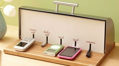 DIY phone and ipod charger station out of a breadbox