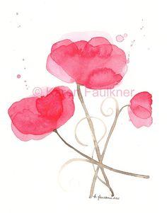 Poppy Party watercolor flowers giclee fine art by karenfaulknerart, $20.00